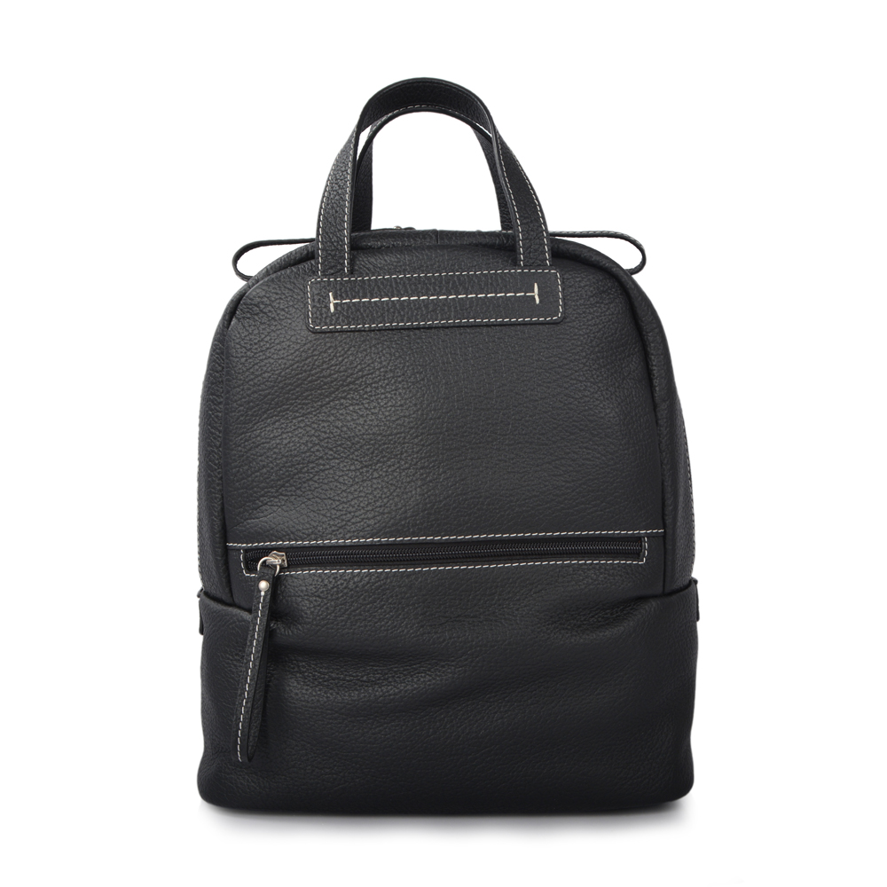 Top Grain Black Mini Lady Women Leather Backpacks