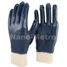 NMSAFETY oil resistant and heavy work cotton liner blue nitrile with knitted wrist gloves