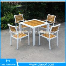 Nouvel ensemble de meubles de salle à manger en bois en teck design extérieur