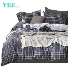 Homestay Cotton Fabric Bedding Set Modern Design Made in China Black Plaid Deep Pocket