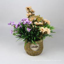 Handmade home interior booming hanging baskets with flowers