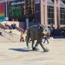 jardim ao ar livre decoração bronze fundição metal tigre esculturas