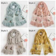 2017 New arrival fashion lightweight long butterfly pattern embroidery women silk scarves satin silk turkey scarf wholesale