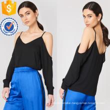 Loose Fit Black V-Neck Cold Shoulder Long Sleeve Summer Top Manufacture Wholesale Fashion Women Apparel (TA0072T)