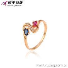 13015 moda hot-venda agradável 18k anel de jóias de cristal banhado a ouro para senhora ou menina