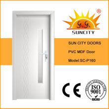 Precio barato impermeable puerta de PVC MDF con vidrio (SC-P160)