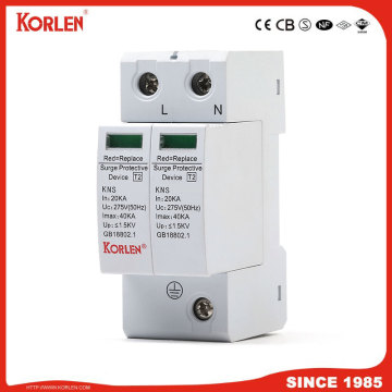 Korlen Dispositif de protection contre les surtensions SPD AC 275V Protecteur de surtension 2p 10ka-40ka