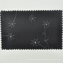 Schwarzer Jacquard-Blumenstoff Australien-Merinowolle-Mode für traditionelle Abnutzung durch den Yard