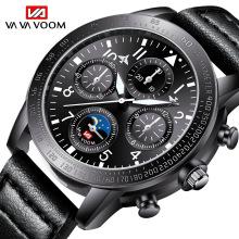 Mens Watches Top Luxury Brand Waterproof Sport Wrist Watch Chronograph Quartz Military Leather Relogio Masculino