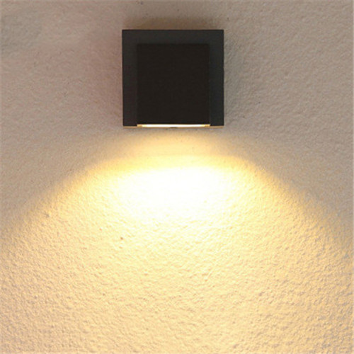 Warm White Black Led Outdoor Wall Light