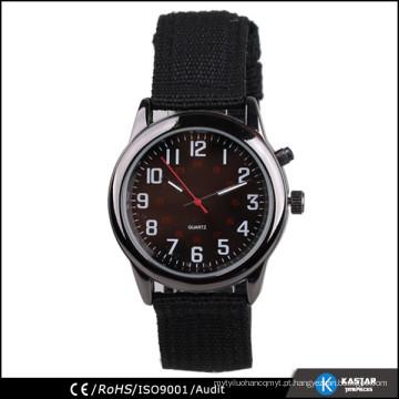 Relógio traseiro de aço inoxidável com tira de nylon 2015