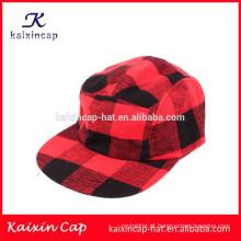 vermelho e preto atravessou a coroa e brim personalizado barato 5 painel acampamento cap