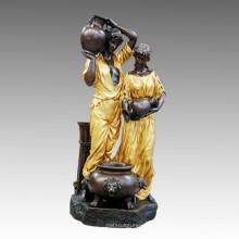 Große Figur Brunnen Paar Bronze Skulptur Tpls-059