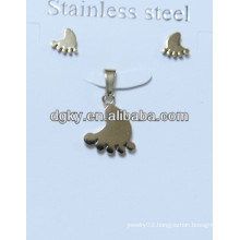 Gold Plated Baby Foot Stainless Steel Pendant And Earring