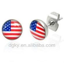 Mens Stainless Steel USA Flag Stud Earrings 7mm