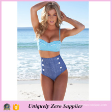 2016 New Style Jegging Swimwear with Small White Dots Vest Tankinis Bikini with High Waist Short Pants