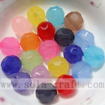 Charming Jelly Round Faceted Jewelry Acrylic Beads
