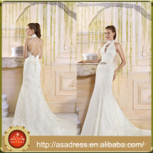 VIL-10 Beaded Sash Lace Appliques High Neck Trumpet Lace Wedding Dresses with Long Train