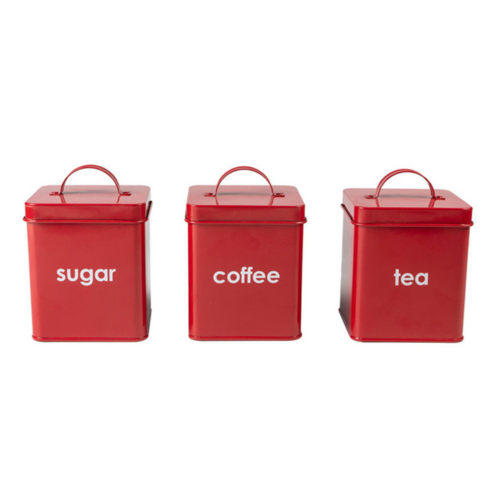 Metal Kitchen Tea Sugar Coffee Canister Set 3