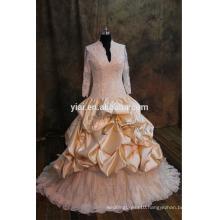 J-0024 luxury gold lace heavy beadling muslim tulle ruffles v-neck wedding dress