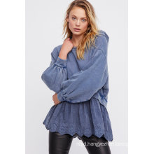 Edgy Washed Cotton Cropped Hoodie Pieced with a Femme Poplin Hem