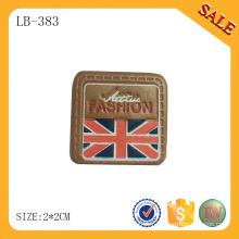 LB383 Étiquette de vêtement à la main en forme de forme carrée logo étiquette de cuir deboss pour vêtement / sac / chapeau