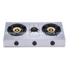 3 brûleurs en acier inoxydable 710mm Longueur 100 cuisinière à gaz en acier fer / cuisinière à gaz
