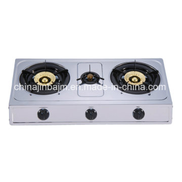 3 Burners Stainless Steel 710mm Length 100 Iron Steel Cap Gas Cooker/Gas Stove