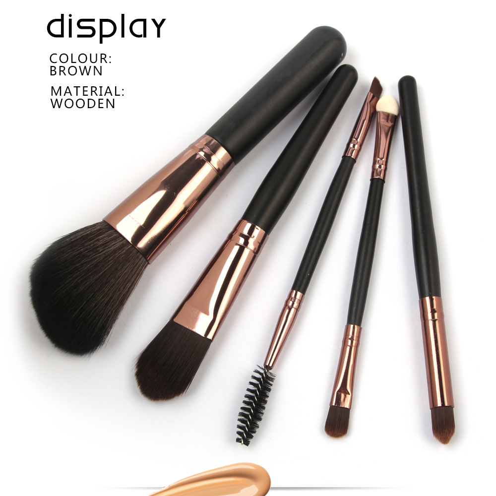 5 Pcs Wood Makeup Brushes Set display 2