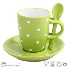 3.5oz Green Stoneware Espresso Cup and Saucer with Spoon