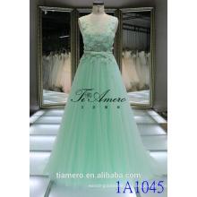 1A1045 verträumte hellgrün gehäkelte Spitze-Schärpe 3D Blumen Appliqued Sleeveless Abend-Kleid-Abschlussball-Kleid-Brautjunfer-Kleid