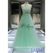 1A1045 Dreamy Light Green Crocheted Lace Sash 3D Flores Appliqued vestido de noite sem mangas Prom Dress Vestido de dama de honra