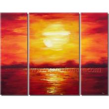 Pintura al óleo hermosa del paisaje marino de la salida del sol de la lona para la decoración (SE-202)