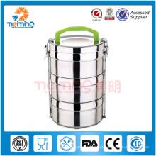 recipiente isolado mais morno redondo do alimento de aço inoxidável, garrafa térmica do alimento