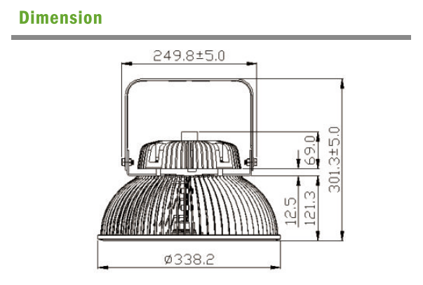 LED High Bay dimension for big power