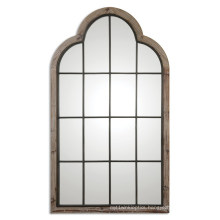 Gray Finished Handmade Wood Framed Door Shaped Wall Mirror for Home Decoration Accessory