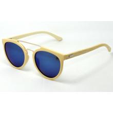 Gafas de sol de madera de bambú verdaderas, PC + gafas de sol de bambú