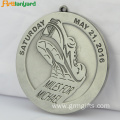 Customized Cheap Silver Medal With Ribbon