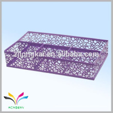 High quality metal mesh purple cube memo diary with metal pen holder