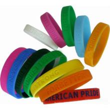 Bracelets de promotion sur mesure en silicone 2016 personnalisés