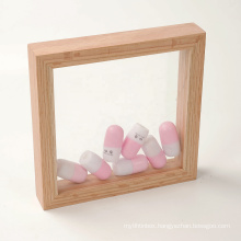 8x8 High Quality Custom Wood Double Sided Glass Floating Display Picture Artwork 3D Shadow Box Wall Photo Frame