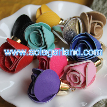 30*40MM Faux Leather Rose Flower Fringe Tassel For Handbag