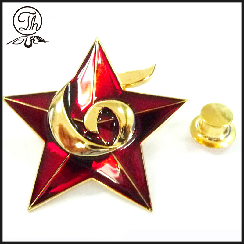 Solid star with transparent enamel badge