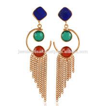 Lapis Lazuli & Onyx Drop Chain Jhumka Yellow Gold Plated Brass Earrings
