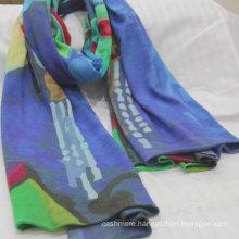 2017 custom high quality knitted digital printing cashmere scarf