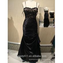 2017 New Fashion Custom Made sexy Elegant A-line Scoop Backless cravate noire et tulle longue robe de soirée robes de bal ED04