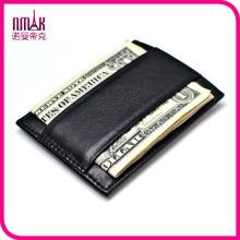 Auténtica de cuero real delgada clip de dinero de imanes de la cartera delgada tarjeta de crédito mini titular de identificación
