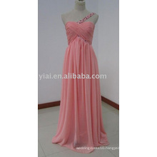 ED5636 One Shoulder Thin Strap Sweetheart Neckline Ruched Chiffon Bridesmaid Dresses Coral Color