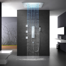 Rainfall LED Shower Head Thermostatic Shower Faucet Set