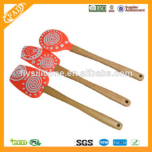 FDA y LFGB espátulas de madera del silicón de la manija con Multi-color